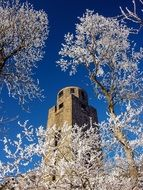 Kaiser tower at sky behind frosted trees, germany