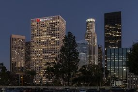 skyscrapers in downtown at night, usa, california, los angeles