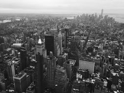 black and white aerial view of downtown, usa, manhattan, new york city