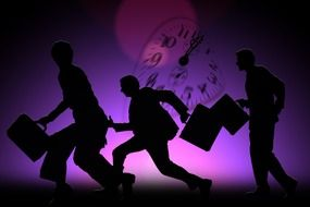 men silhouettes at purple background with clock face, illustration