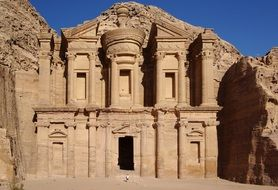 ancient rock cut facade, jordan, petra
