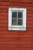 red old barn vintage window