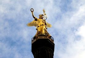 bottom view of gold else, Victory Column at sky, germany, berlin