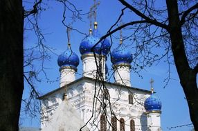 blue domes of Our Lady of Kazan church at sky, russia, moscow, Kolomenskoye