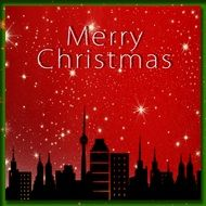 christmas greeting card with stars and city silhouette