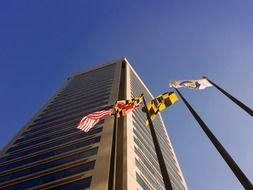flags at world trade center building, usa, maryland, Baltimore