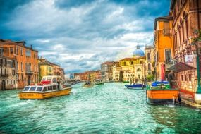 bright colorful view of grand canal, italy, venice