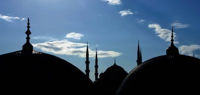 domes of Sultan Ahmed Mosque at sky, back light, turkey, istanbul