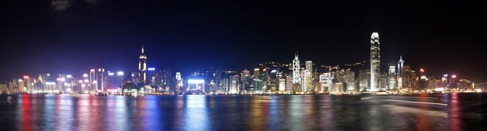 beautiful night city waterfront, china, hong kong