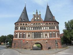 Holsten Gate towers with conical roofs, poland, lübeck