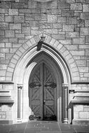 closed door of gothic cathedral