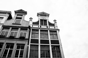 Front of building windows black and white view