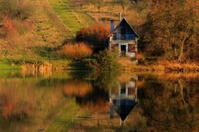 cottage lake mirror tranquil