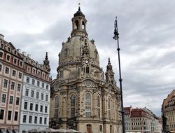 lutheran Church of Our Lady, frauenkirche, in old town at cloudy sky, germany, dresden