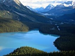peyto lake in gorgeous mountain landscape, canada, alberta
