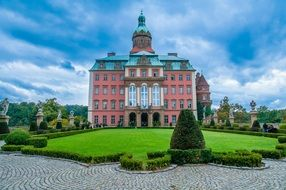 Ksiaz Castle in beautiful Garden, Poland