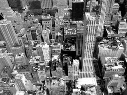 black and white photo of a top view of the city