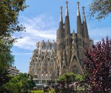 sagrada familia cathedral in park, spain, barcelona
