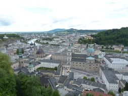 top view of university church in old town, austria, salzburg