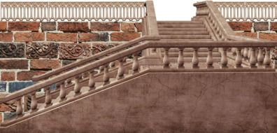cut out of stone staircase with balustrade