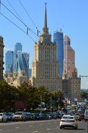 traffic on road in cityscape, russia, moscow
