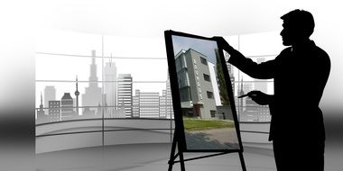 man silhouette at stand with picture of building in view of city