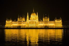 budapest hungary parliament in the evening sky