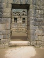 doorway in ancient stone wall, peru, machu picchu