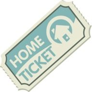 home ticket, paper coupon, illustration
