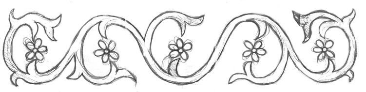 black and white hand drawn sketch of floral ornament