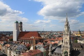 roof view of frauenkirche and town hall in old city, germany, bavaria, munich