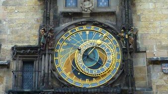 antique astronomical clock on town hall, czech, prague