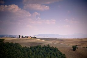 beautiful landscape with monastery buildings on hill, italy, tuscany