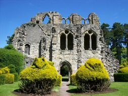 medieval ruin of wenlock priory at summer, uk, england, Much Wenlock