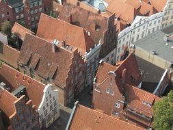 top view of medieval buildings in old town, poland, lübeck