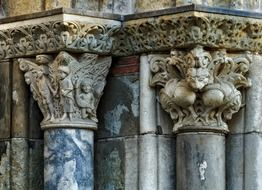 gothic capitals, architectural detail of st sernin basilica, france, toulouse