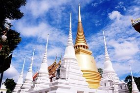 golden and white pagoda, Thailand buddhism temple