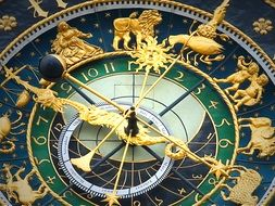 antique astronomical clock with golden zodiac ring