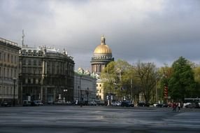 view of st isaac cathedral from palace square after rain, russia, st petersburg