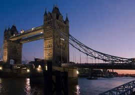 tower bridge on thames river at night, uk, england, london