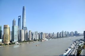 high-rise buildings on the Huangpu river Shanghai