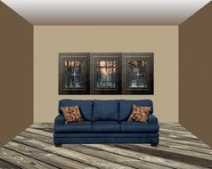 sofa at grated windows in living room, visualization