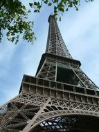 low angle view of eiffel tower at summer, france, paris