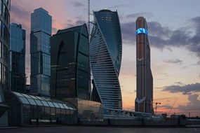 moscow city skyscrapers at dusk, russia