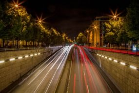 munich night road light tracks