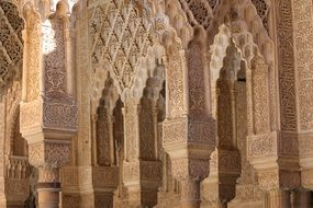 architectural details of alhambra palace, spain, granada