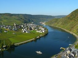 beautiful summer landscape with villages at mosel river, germany, cochem zell