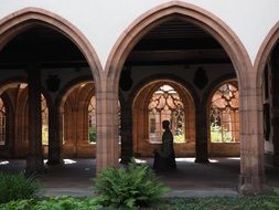 arched cloister of basel cathedral, switzerland