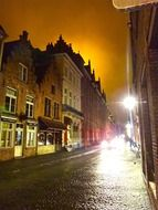 old town at night, belgium, bruges