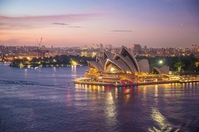 beautiful cityscape with opera house at dusk, australia, sydney